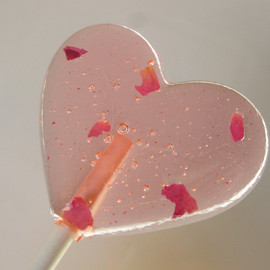 sweetniks - rose petal heart lollipops