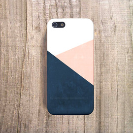 casesbycsera - Navy iPhone 6 Case Peach Chevron iPhone 4 Case iPhone 5s Case Cream