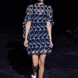 JUNYA WATANABE COMME des GARCONS - 12ss Embroidered tulle dress blue