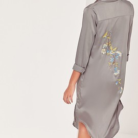 Missguided - Embroidery Back Shirt Dress