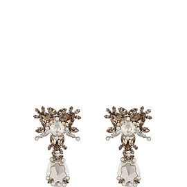 GIVENCHY - Drop earrings in palladium-tone brass, Swarovski crystal and pearl