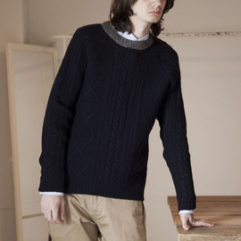 FACTOTUM - ARAN KNIT CREW NECK