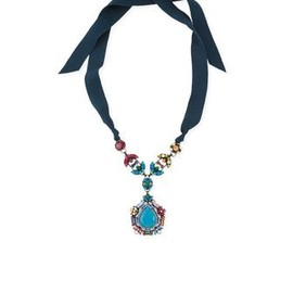 Lanvin - Multicolor Crystal PendantNecklace with Ribbons by Lanvin
