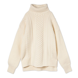 mame - Turtleneck Aran Sweater - white