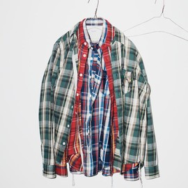 BiceSter - VINTAGE FLANNEL CHECK BEADS POCKET SHIRT