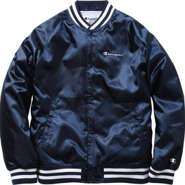 Supreme - Supreme/Champion® Satin Jacket Satin jacket with quilted lining.