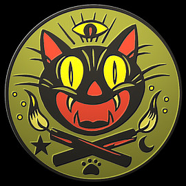 """The Creeping Museums - """"The Loyal Order of the Black Cat"""" badge in All-Seeing Cat's Eye Green"""