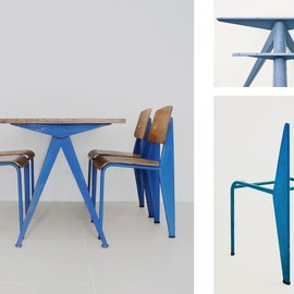 Jean Prouve - compass table & chairs