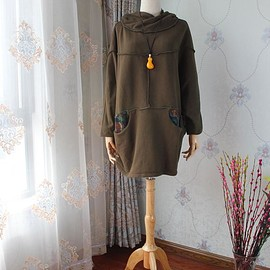 jacket for women - Army green Oversized coat, Hooded coat
