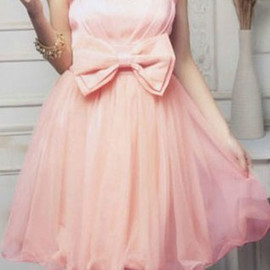 European Style Sweet Bowknot Grenadine Lace Strapless Party Dress