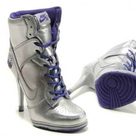 nike - Women's Nike Dunk High Heel Shoes Silver Purple