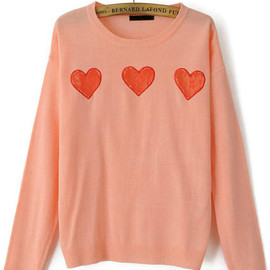 Pink Sweater with Red Lace Heart pictures