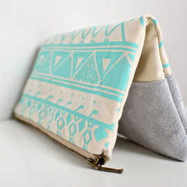 FREE SHIP Geometric   - Printed Leather-Suede Pouch