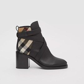 Burberry - Burberry House Check And Leather Ankle Boots In Black