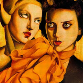 Tamara De Lempicka - Two Young Ladies Portrait of two women paint by  Tamara de Lempicka (1896-1980)