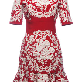 DOLCE&GABBANA - SS2015 Embroidered Cady Flounce Hem Dress