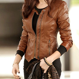 Motorcycle Style Cool Solid Color Vertical Zip Jacket