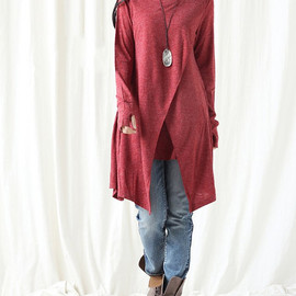 dress - Cotton asymmetrical dress/ Long t shirt/ Long bottoming gown