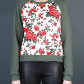 MSGM - 2013/AW ■ ROUND NECK SWEATER WITH FLORAL PRINTED DETAILS 1