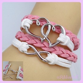 plamode - Charm Fashion Leather Bracelet Heart infinity Pink