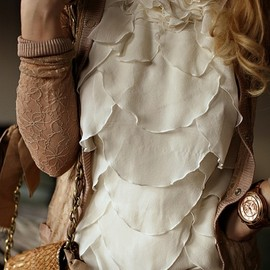 scalloped blouse.