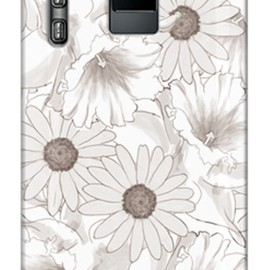 SECOND SKIN - uistore「Nostalgic Flower (Monochrome)」 / for  ELUGA power P-07D/docomo
