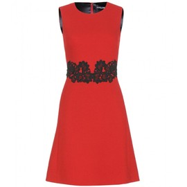 DOLCE&GABBANA - Wool-blend embroidered dress