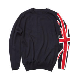 uniform experiment x ENGLATAILOR  - UNION JACK CREW NECK KNIT /NAVY