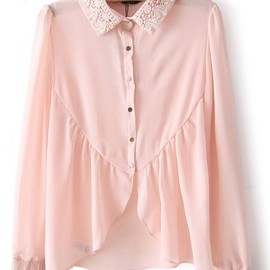 sheinside - Pink Embroidery Lapel Long Sleeve Chiffon Blouse pictures