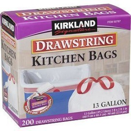 Kirkland - Kirkland Signature Drawstring Kitchen Trash Bags - 13 Gallon - 200 Count