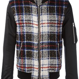 Route Des Garden - checked bomber jacket