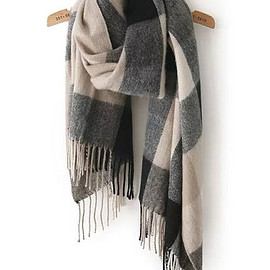 Romwe - Black Grey Plaid Tassel Classical Scarf
