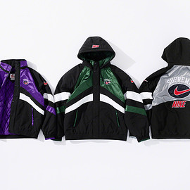 Supreme, NIKE - Water resistant nylon Hooded Sport Jacket with quilted lining and removable hood
