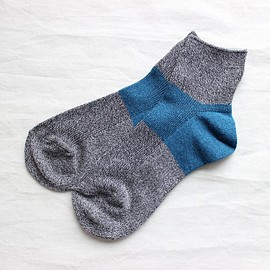 NO CONTROL AIR - Color Heel Short Sox #marine blue×charcoal gray top