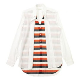 DRIES VAN NOTEN - CARNELL SHIRT WHITE-RED BOREDER LAYERED 2012SS
