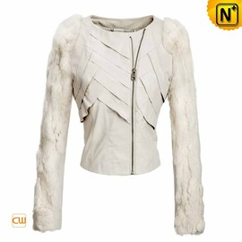 CWMALLS - White Cropped Leather Jacket CW670044 - CWMALLS.COM
