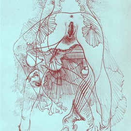 hans bellmer - Untitled, 1946-1947 - From the series of illustrations for Georges Bataille's Histoire de l'oeil (Story of the Eye) (From same series) (via defrag, oceanofmind)