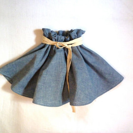 HarrietsHaberdashery - Chambray Denim Twirling Skirt with Linen Belt