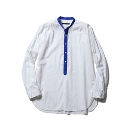 SOPHNET. - BAND COLLAR PULLOVER LONG SHIRT/white