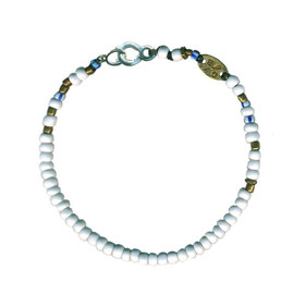 Giles & Brother - White African Bead Bracelet (White/Blue)