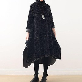 dress - Women's Bottoming Dresses, Loose Heap collar dress, long winter Sweater dress