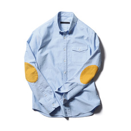 SOPHNET. - COTTON OXFORD ELBOW PATCHED SHIRT
