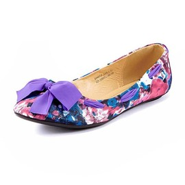 Colorful Mottled Flat Shoes Purple