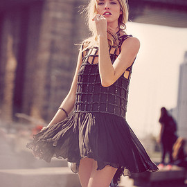 Free People - Free People Sequin Shell Drop Waist Dress