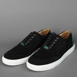 COMME des GARCONS SHIRT - 2012-13AW BLACK AND GREEN SUEDE SHOES WITH LACES AND WHITE SOLE