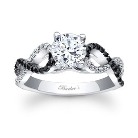 Barkev's - Ladies Black and White Diamond Engagement Ring with Infinity Band!
