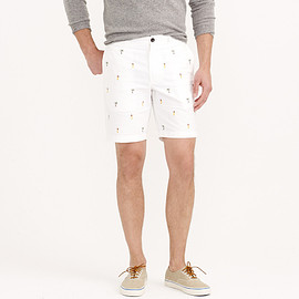 """J.CREW - 9"""" STANTON OXFORD CLOTH SHORT WITH EMBROIDERED HULA GIRLS"""
