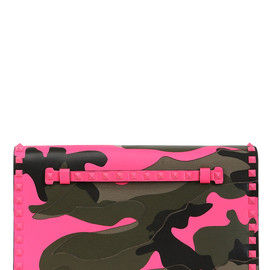VALENTINO - ROCKSTUD CANVAS AND LEATHER CLUTCH