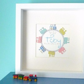 Luulla - Personalized mixed media 3D art for nursery. Trains keepsake. Framed and Mounted