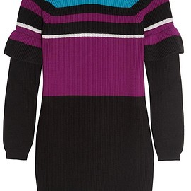 KENZO - Color-block ribbed wool mini dress